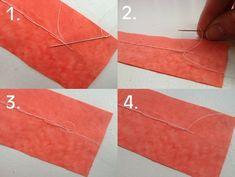 Remate de puntadas:Por revés de tela y con aguja aún enhebrada,la colocamos cerca de donde sale hilo,cog.con aguja trocito peq.de tela(fig1)Empuja aguja e hilo a través,pasa aguja por peq.círculo que crea el hilo(fig2)Asi,hemos creado el nudo,tiraremos de aguja para tensarlo y mantener nudo lo más cerca posible de la tela(fig3),operación se puede hacer par de veces más para mayor seguridad del remate.Tensa nudo,corta el hilo a unos mm(fig4)