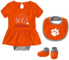Bib and Bootie Set Infant Set Outerstuff Clemson University Tigers Creeper