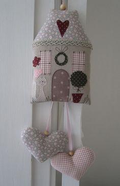 LITTLE FABRIC SEWN HOUSE WITH HANGING HEARTS - Домики из ткани, мягкие игрушки своими руками