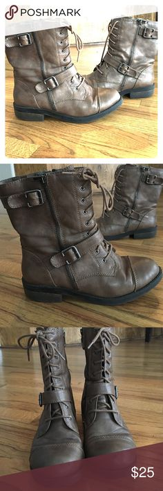 Ankle combat boots Great boots for a cute night out or an outdoor adventure. Very comfortable and easy to match anything with Shoes Combat & Moto Boots