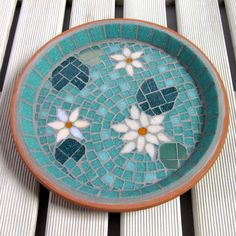 Jade Mosaic Pink Water Lily Pond Garden Bird Bath Decoration Ornament The Design A mosaic pond design bird bath with three water lily flowers, two are matt pastel pink, and one is iridescent pale pink. The lily pads are matt dark jade green and iridesc. Mosaic Birdbath, Mosaic Garden Art, Mosaic Pots, Mosaic Birds, Mosaic Diy, Mosaic Glass, Tile Crafts, Mosaic Crafts, Mosaic Projects