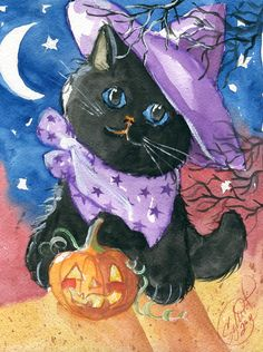 Purple Witch Halloween Back Kitty Painting by Sylvia Pimental