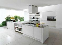 cuisine laquée avec carrelage blanc et meubles de cuisine modernes pas cher
