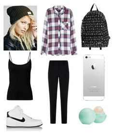 """""""Untitled #7"""" by mburnside on Polyvore featuring Rails, Free People, Yak Pak, Armani Collezioni, NIKE and Eos"""