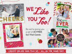 Free Sample: 20 Free 5×7 Flat Cards at Walgreens