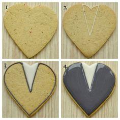 Groom's heart decorated cookie tutorial - Wedding Inspirasi - Miller is Home Fancy Cookies, Heart Cookies, Valentine Cookies, Cupcake Cookies, Christmas Cookies, Cupcakes, Cookie Favors, Sugar Cookies, Owl Cookies