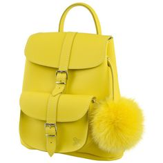 Grafea Sunny Yellow Leather Baby Backpack - available to buy on www.hoochiemama.me #leather #bags #uk #designer #backpack #yellow #pompom #sunyellow #sunnyyellow #sun