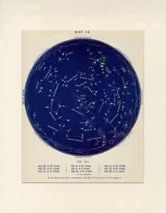 1884 Matted Virgo Zodiac Star Map August by AntiquePrintBoutique