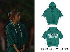 "Yoon So Ah's Green Sweatshirt - rolarola Half-Sleeve Hoodie in Green (로라로라 RMG3DJ-TS0055M003). Shin Se Kyung 신세경 as Yoon So Ah 소아 in ""Bride of the Water God 2017"" Episode 9."