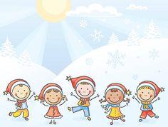 Crianças em Santa Chapéu - ilustração de arte vetorial