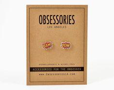 Idée de cadeau BAM Pow Comic Book boucles par ObsessoriesLA sur Etsy