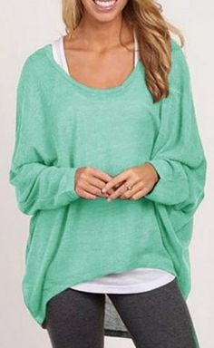 Love this Color! Aqua Blue Layered Stylish Scoop Neck Long Sleeve Pure Color Women's Sweater #Aqua #Blue #Layered #Sweater #Fashion