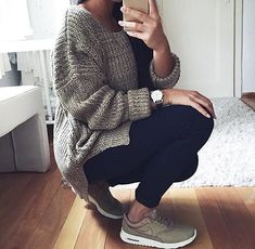 gray sweater and sneakers