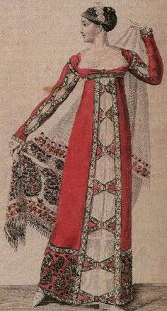Costumes Parisiens 1811, plate no. 1124. A low-cut gown made of a beautiful pink cashmere shawl. Another shawl, white, is carried by the lady. Her headdress is of roses and pearls. The slashing on the long sleeves is part of the fad for Renaissance dress.