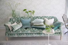Browse our beautiful collection of plain and decorative pillows at Designers Guild Online. Designers Guild, Fabric Wallpaper, Color Of The Year, Pantone Color, Home Organization, Decorative Pillows, Love Seat, Upholstery, Cushions