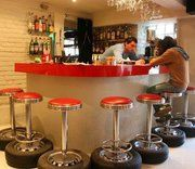 50's diner car tyre stools for the outdoor bar  #recycedtyres #aboutthegarden.com.au