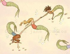Children's Wall Art Print - Mermaids - Girl Kids Nursery Room Decor