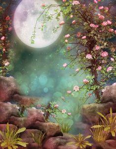 68 Ideas Fantasy Art Landscapes Moonlight The Moon For 2019 Fantasy Art Landscapes, Fantasy Landscape, Beautiful Landscapes, Fantasy Background, Background Images, Background Patterns, Photo Backgrounds, Wallpaper Backgrounds, Wallpapers