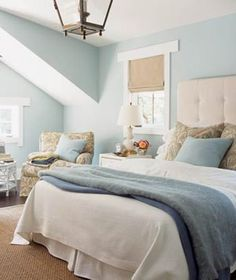 Blue & Tan Bedroom Interior Design | Beach House DecoratingBeach House Decorating