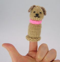 Dog Finger Puppet FREE Knitting Pattern Download                                                                                                                                                                                 More