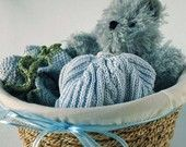 Handknit Baby Boy Basket with Light Blue Hat and Booties in Organic Pima Cotton