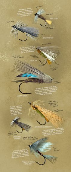 Fly Fishing Projects. Flies for spanish mountain streams. Art by Román García Mora.
