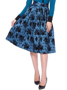 "Women's ""Bird and Bouquet"" Flocked Skirt by Voodoo Vixen (Blue) #InkedShop #skirt #style #fashion #womenswear"