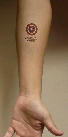 37 Small Tattoo Ideas For Big Avengers Nerds 37 Small Tattoo Ideas For Big Avengers Nerds Tattoos captain america tattoo Form Tattoo, 16 Tattoo, Tatoo Art, Get A Tattoo, Body Art Tattoos, Cool Tattoos, Tattoo Quotes, Nerd Tattoos, Tatoos