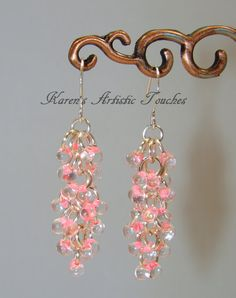 Silver Pink Clear Shaggy Loops Wire Bead Dangle by ArtisticTouches, $12.00