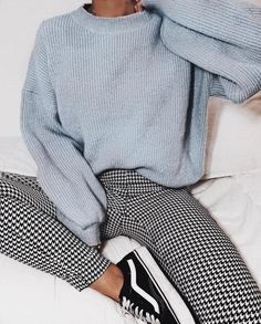 Gingham pants vans old soooo sneakers blue knit sweater cozy outfit vans outfit gingham pants outfit womens fashion february fashion outfits with sneakers for high school teenager outfits 20 outfits with vans Simple Outfits For School, Casual School Outfits, Cute Casual Outfits, Winter School Outfits, Cold Weather Outfits For School, Outfit For College, Casual Outfits For Winter, Chic Outfits, Cute Pants Outfits