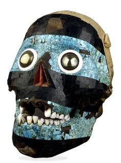God Tezcatlipoca or the skull of 'Smoking Mirror', Mosaic mask of Tezcatlipoca, 15th-16th century AD, From Mexico.