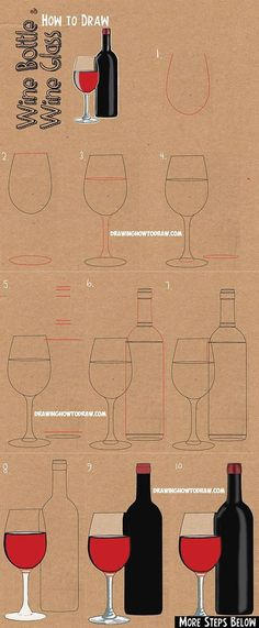 How to Draw a Bottle of Wine and Glass of Wine : Easy Step by Step Drawing Lesson