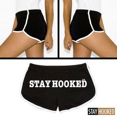 "Women ""STAY HOOKED"" Shorts - Black / White"