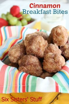 These breakfast bites taste a lot like a cinnamon sugar doughnut hole, but so much healthier since they are baked! And they have rice krispies in them. Your family will love these!