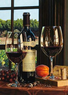 A Vineyard View by Eric Christensen and glasses of wine and a food pairing too. Realistic Oil Painting, Wine Vineyards, Wine Art, In Vino Veritas, Wine Cheese, Italian Wine, Wine Time, Wine And Spirits, Wine Drinks