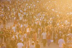 Crowds gather as the sun sets at Nos Alive.