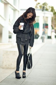 Top by Soyer, wrap belt by Eileen Fisher, pants by Armani Exchange, bag by Stella McCartney, shoes by Christian Louboutin. (wendyslookbook.com, November 19, 2011)