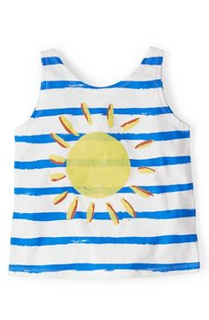 Mini Boden 'Stripy' Logo Cotton Tank Top (Toddler Girls, Little Girls & Big Girls) available at #Nordstrom