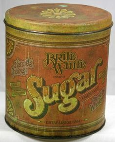 """Vintage 1970's Ballonoff Brite White 6"""" Sugar Tin Hawaii Advertising Canister Ohio - we have this ! Yay mama"""