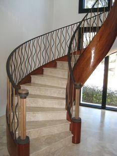 Dishy Metal Stair Railing Brackets #staircase #stairs #balustrade #baluster #handrail #banister #architecture #interiordesignideas #interiordesigninspiration