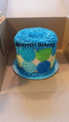 Polka dot blue and green smash cake