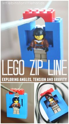 Make a quick and easy Lego zip line to test out slopes, angles, gravity and tension plus engineering skills. Lego zip lines are fun! for boys Make A LEGO Zip Line Lego Activities, Fun Activities For Kids, Lego Games, Family Activities, Kid Games, Legos, Lego Lego, Lego Craft, Lego Batman