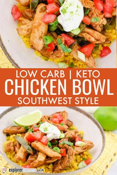 Delicious and easy for a low carb weeknight meal, keto chicken bowls are packed southwest and Mexican flavors. One of our favorite keto chicken recipes with turmeric cauliflower rice. Lunch Recipes, Easy Dinner Recipes, Mexican Food Recipes, Low Carb Recipes, Real Food Recipes, Easy Meals, Healthy Recipes, Ethnic Recipes, Ketogenic Recipes