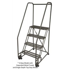 """Cotterman 4-Step Tilt-N-Roll Steel Ladder with 24""""W Perforated Treads and 10""""D Platform"""