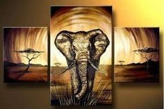 MODERN ABSTRACT HUGE WALL ART OIL PAINTING ON CANVAS-Elephant  No  Frame #Abstract