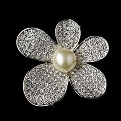 Brooch 66 Antique Silver Diamond White Pearls and Rhinestones