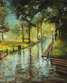 Rain at Twilight In Washington Square Park by Leah Lopez