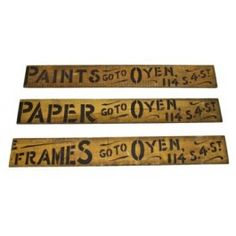 et of three late 19th century hand-painted single-sided pine wood interior decorating trade signs - odin j. oyen decorating firm, la crosse, wi  UR #: UR-8740-10