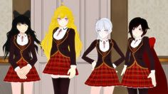 Team RWBY in school uniform. I'd go for Yang or Ruby since they have leggings on. Probably Yang, I'm not keen on wearing capes. So I'd just need the outfit and the wig, then!