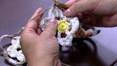 Mulher.com 30/04/2015 Cristina Luriko - Quadro de flores de crochê Parte...